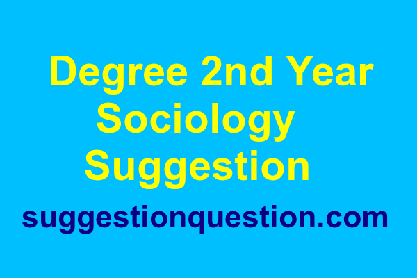 Degree 2nd Year Sociology Suggestion 2019
