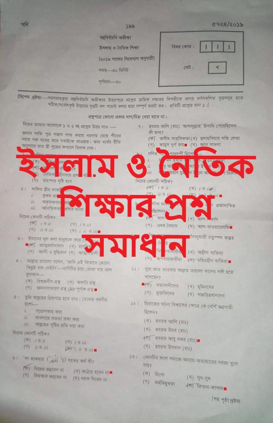 SSC Islam and Moral Education MCQ Question Solution 2019