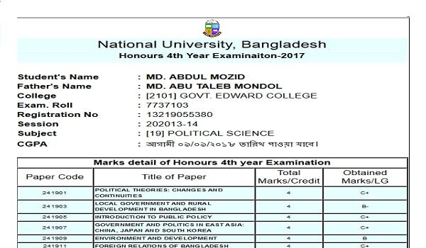 nu.edu.bd Result 2019